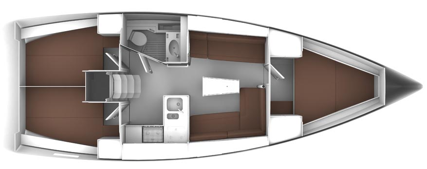 Bavaria Cruiser 37 - Yacht Charter Croatia - layout - nancy