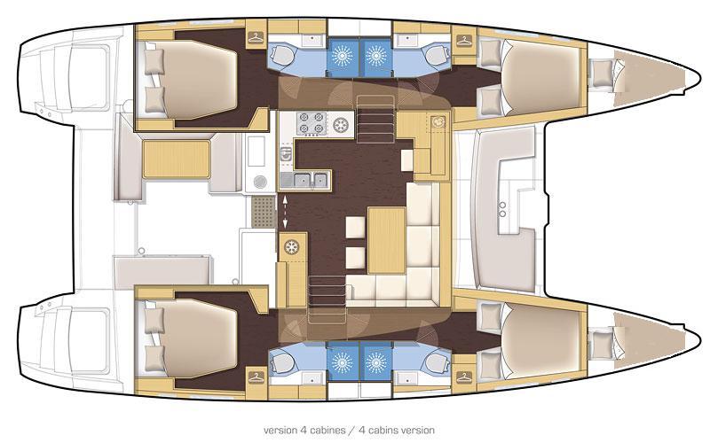 Lagoon 450 Fly - Yacht Charter Croatia - layout