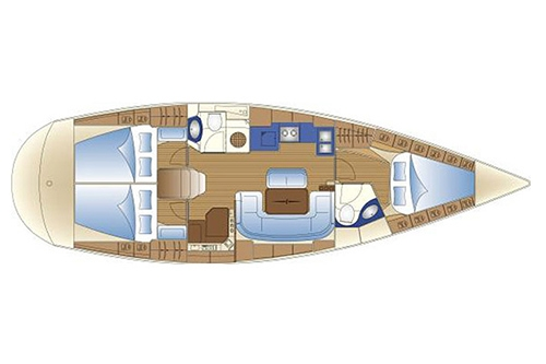 Bavaria 42 Match - Yacht Charter Croatia - layout - Match Point