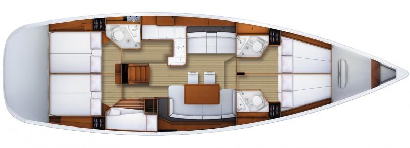 Jeanneau 53 - Yacht Charter Croatia - layout - Madia