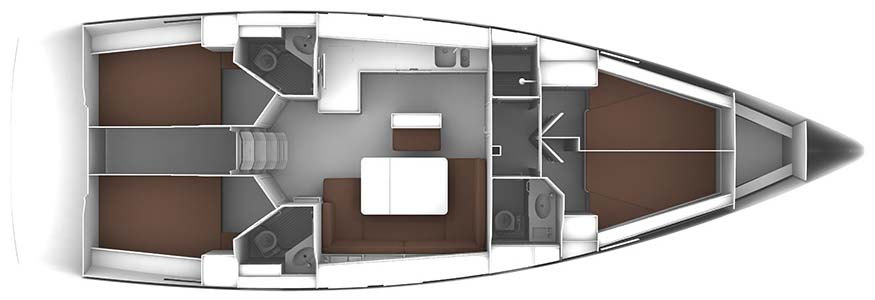 Bavaria Cruiser 46 - Yacht Charter Croatia - layout