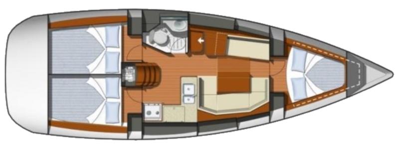 Sun odyssey 36i - Yacht Charter Croatia - layout - Kate