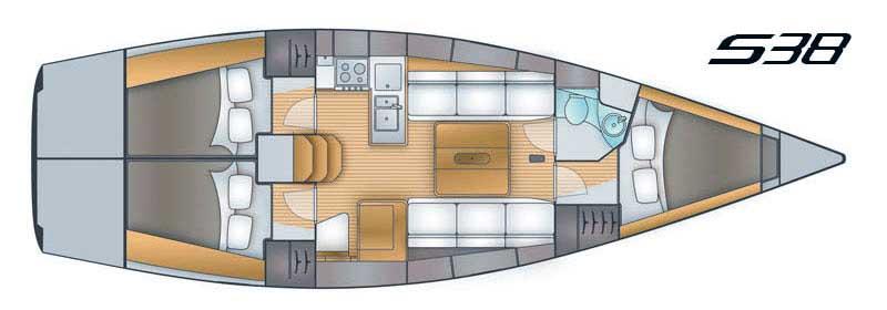 Salona 38 - Yacht Charter Croatia - layout - olynthia