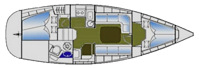 Bavaria 37 Cruiser - Yacht Charter Croatia - layout - Money for Nothing