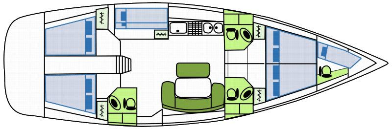 Cyclades 50.5 - Yacht Charter Croatia - layout