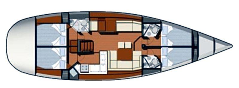 Sun odyssey 50DS - Yacht Charter Croatia - layout - Bonaca