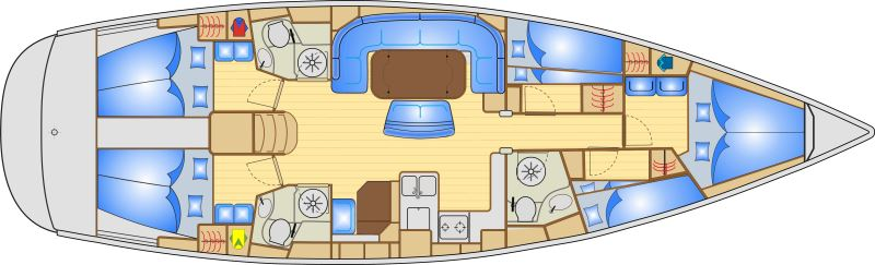 Bavaria 50 Cruiser - Yacht Charter Croatia - layout
