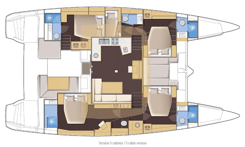 Lagoon 52 Fly - Yacht Charter Croatia - layout