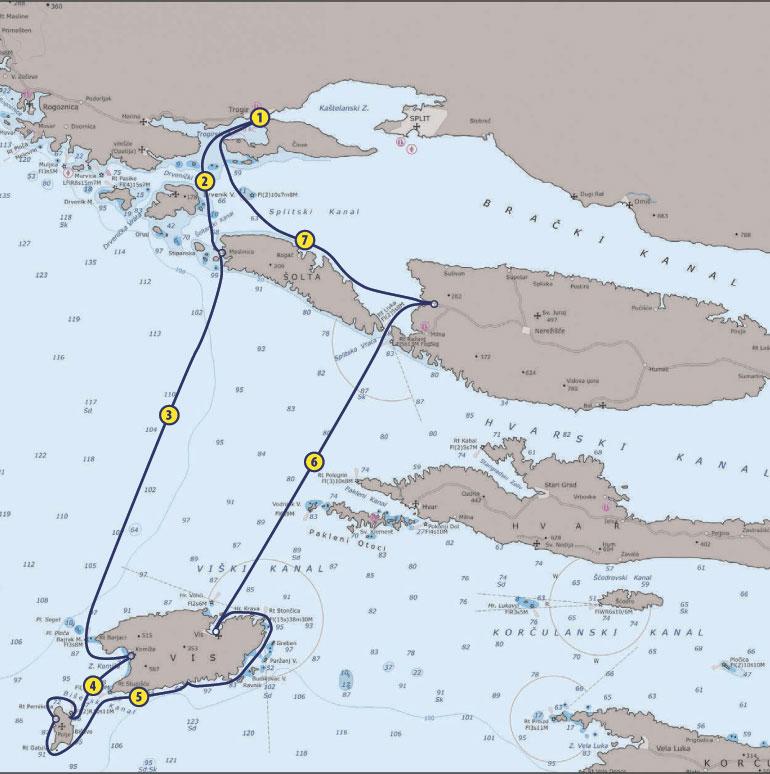Sailing-Route-Croatia-Vis-Brac-Trogir-Waypoint