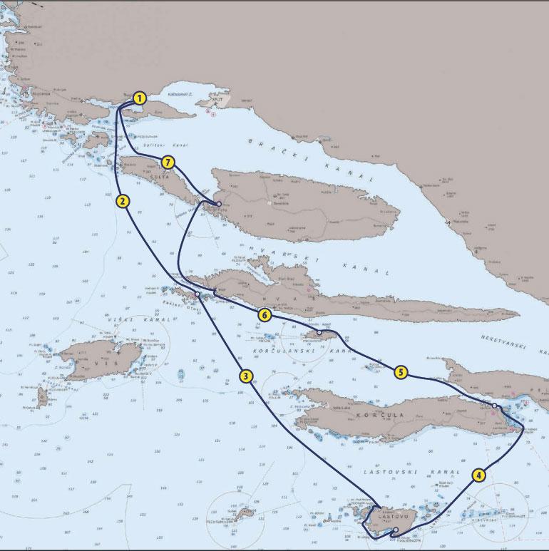 Sailing-Route-Croatia-Central-Dalmatia-Waypoint