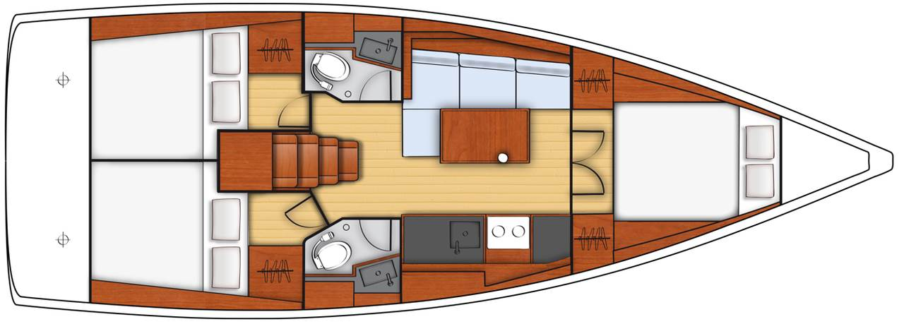 Oceanis 38.1 - Yacht Charter Croatia - layout