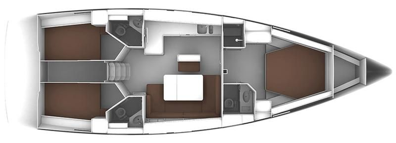 Bavaria Cruiser 46 Owner 3 cab Layout