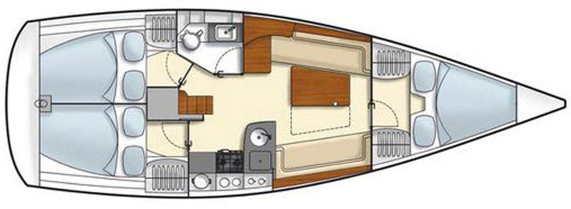 Waypoint Yacht Charter Croatia - Hanse 355 Neptun Layout