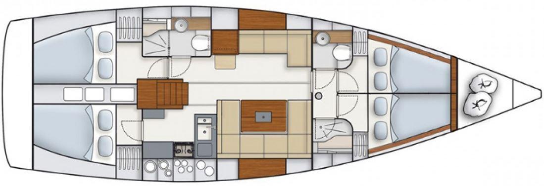 Waypoint Yacht Charter Croatia - Hanse 445 Nerej layout